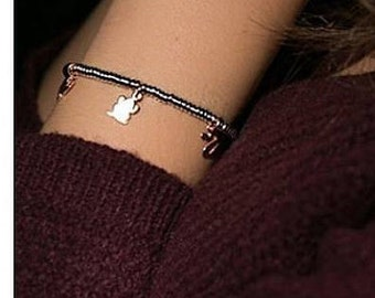 Bracelet in Silver 925 with washers washers & Charms 925 Silver rose wine