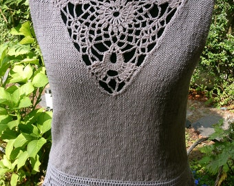 Knit top with crochet lace inserts, pale pink, size 40-42 (M)