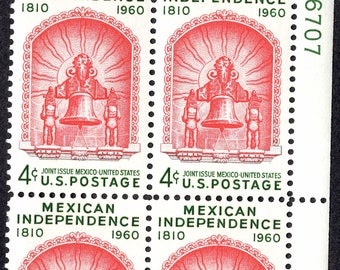 1960 Mexican Independence Postage Stamps Unused Block