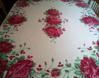 Gorgeous Large Red Pink Roses Vintage Floral Tablecloth Oblong Table Cloth Shabby Cottage Chic Cabbage Roses Retro Red Kitchen 1940's 1950's