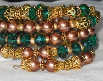 Emerald Copper Memory Wire Bracelet