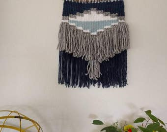 Navy, White and Grey Woven Aztec Style Wall Hanging | Navy, Light Blue, White & Grey Wall Hanging | Blues Woven Wall Hanging