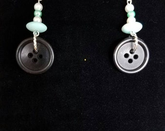 Black Button and Blue Bead Earrings