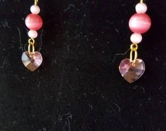 Pink Swarovski Heart Earrings