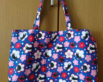 Japanese Cute/Kawaii Tote Bag - Cats and Cherry Blossoms, Blue Background