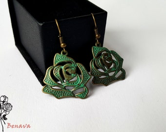 Earrings Lotus bronze retro vintage