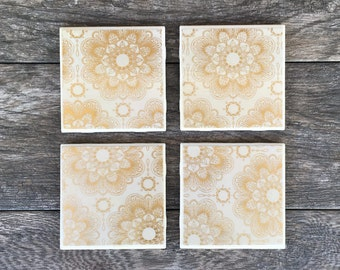 Gold and White Mandalas Ceramic Coasters
