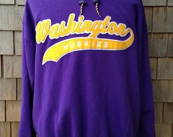 Vintage 90s Washington Huskies Sweatshirt Hoodie by Starter - XL / XXL - University of Washington - hooded soft