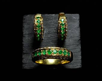Emerald Diamond Huggie Earrings Ring 18k RESERVED