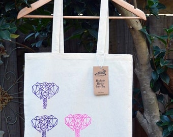 Elephants Tote Bag, Cotton Market Bag, Hand Printed