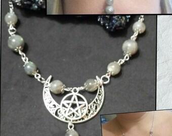 Crew neckline, tiara, wicca, wiccan, pagan, paganism, pagan jewelry, labradorite