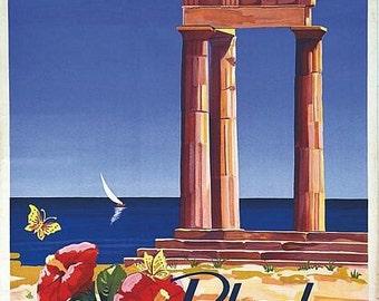 Vintage Acropolis of Lindos Rhodes Greece Tourism Poster  A3 Print