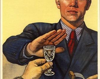 1960's Soviet Union Vodka, Alcohol Abuse Prevention Poster A3/A2 Print