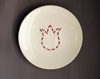 Dutch special - White ceramic plate with embroidered red tulip