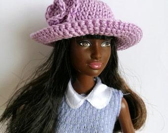Purple, lilac Barbie doll cloche hat, fashion doll hat, clothes
