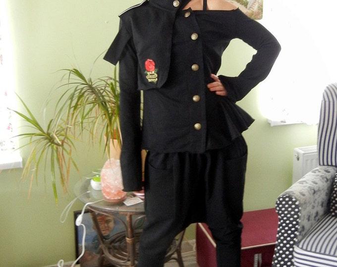 Military Black Extravagant Set / Asymmetric Black Sexy Top / Drop Crotch Pants