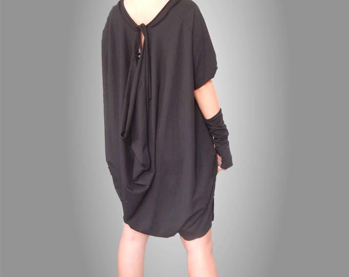Flattering Loose Jumpsuit / Asymmetric Oversized Black Jumpsuit / Short Spring Summer Jumpsuit / Bare Back Plus Size Jumpsuit / Aged Effect