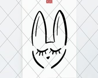 INSTANT SVG/DXF bunny face illustration, cut file, easter svg, rabbit, dxf vector cut file, minimal modern simple, easter baby onesie, tee