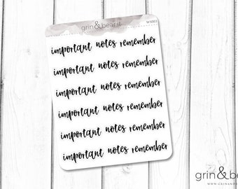 Important Remember Notes Word Stickers (WS003)