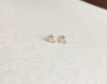 14K Gold Earrings, White Diamond and Cross Earrings, Small Sized Cross and Diamond Earrings