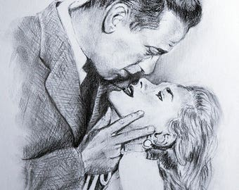 Original design | Humphrey Bogart e Lauren Bacall  | Charcoal Pencil