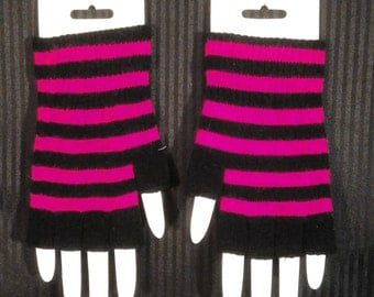 Striped Knit Fingerless Gloves