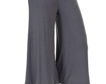 Elastic Waist Culottes Pants Cement