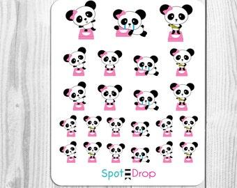 Panda Bear Weigh in Stickers, Panda Fitness Planner Stickers, Panda Planner Stickers (PB23)