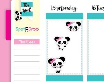 Panda Bear Happy Planner Stickers, Panda Planner Stickers (PB40)
