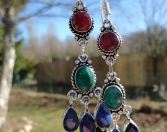 """""""Sultana"""", rubies, emeralds and sapphires earrings"""