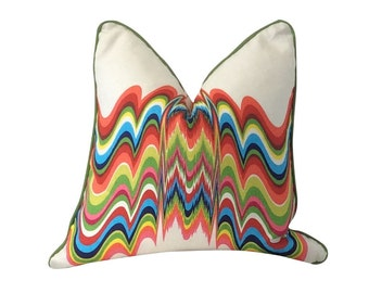 White Pillow, Jonathan Adler, Distorted Prism, Multicolor Pillow, Throw Pillow, Decorative Pillow, Sofa Pillow, Pillow Cover