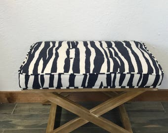 X Bench, Kate Spade Curiosities, Mona Zebra, Blue Bench, Tufted Bench, Zebra Print, Upholstered Bench, Upholstered Stool, Tufted X Bench