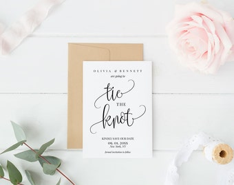 Tie the Knot Save the Date Card Template, DIY Editable PDF Printable Invitation, Wedding Printable, Calligraphy Instant Download, MAM210_39