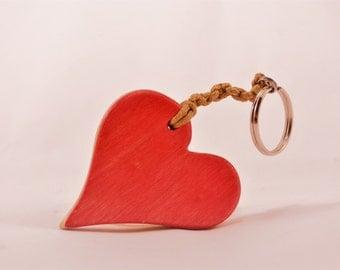 Heart Keychain - Red - Handmade from Recycled Skateboards - Skateboard Art