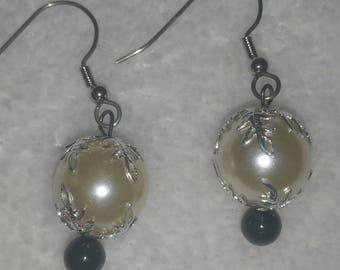 Faux Pearl Filigree Earrings