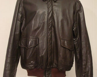 Vintage leather jacket, 1970s A-2 jacket, bomber jacket, flight jacket XL