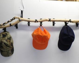 Cedar Coat/Hat Rack With Black Hooks