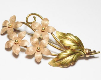 Vintage Varying Gold Tones Krementz Diana Signed Flower Bouquet Brooch