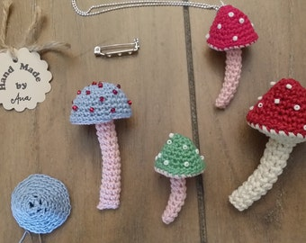 Crochet Toadstool Pattern Crochet toadstool brooch Mushroom Crochet toy Crochet toadstool necklace keychain