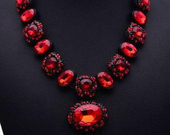 Antique Style Red Gem Statement Necklace