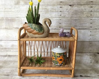 Vintage Boho Wicker Wall Shelf