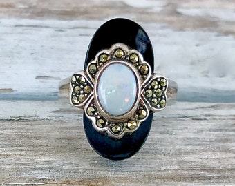 Vintage Sterling Silver Onyx With Opal and Marcasite Ring Size 8.5