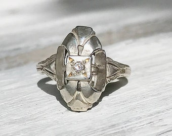 Antique Edwardian Sterling Silver Diamond Shield Ring Size 6.5 April Birthstone Wedding Engagement