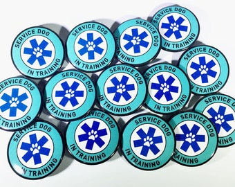 Service Dog in Training (SDiT) metal button pins, Reusable alternative to patches