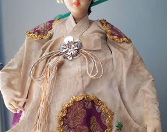 Very Large Korean Pose Doll Traditional Wedding Dress
