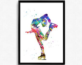 Ice Skating Girl, Figure Skating, Colorful Watercolor,Poster, Room Decor, gift, printable wall art (723)