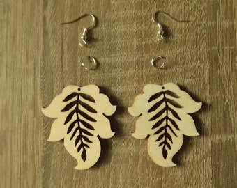 wooden earrings,decoupage leaf,jewellery wooden earrings, wooden leaf, earrings, leaf jewelry