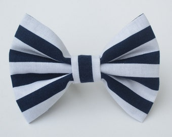 Navy and White Striped Bow Tie- Medium