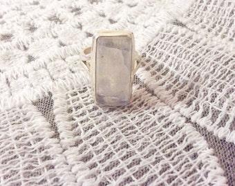 Rainbow moonstone Ring Genuine Moonstone Sterling Silver size 8