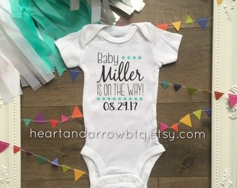 Personalized Baby Announcement Onesie® / Bodysuit / Baby on the Way / Pregnancy Reveal / Maternity Photography / Photo Prop /Surprise Reveal